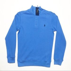 🛍Boys Blue Waffle Knit 1/4 Zip Polo Ralph Lauren